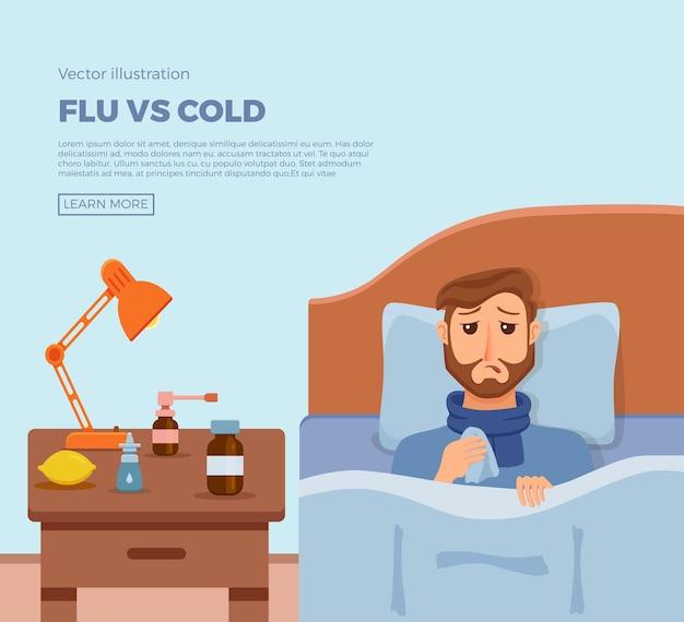 감기, 독감의 증상이있는 침대에서 아픈 남자의 배너