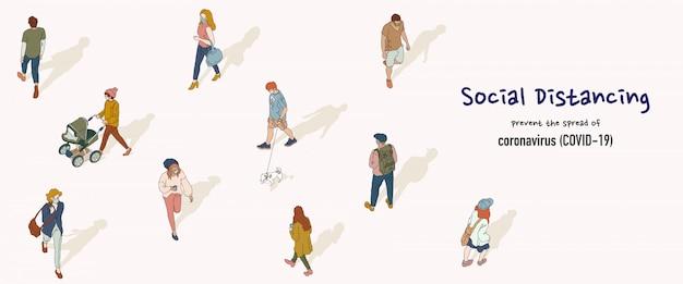 社会的距離概念のバナー。 covid-19から保護するために、人々は公共の場で互いに距離を置いています。手描きスタイルのイラスト。