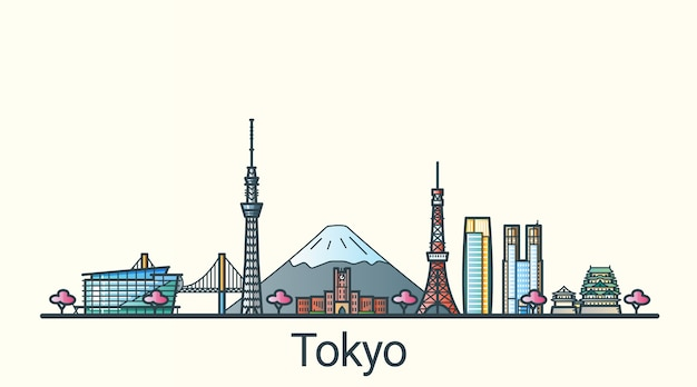 플랫 라인 유행 스타일에 도쿄시의 배너. 모든 건물은 분리되고 사용자 정의 할 수 있습니다. 라인 아트.