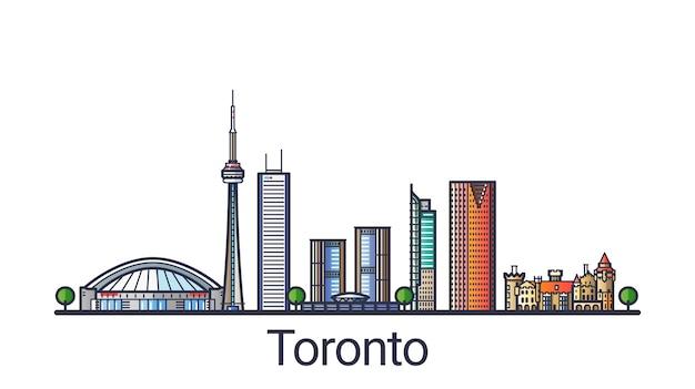 Баннер горизонта города торонто в модном стиле плоской линии. штриховая графика города торонто. все здания разделены и настраиваются.