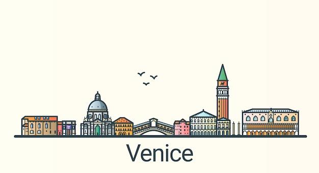 フラットラインのトレンディなスタイルのヴェネツィア市のバナー。ヴェネツィアの街の線画。すべての建物が分離され、カスタマイズ可能です。