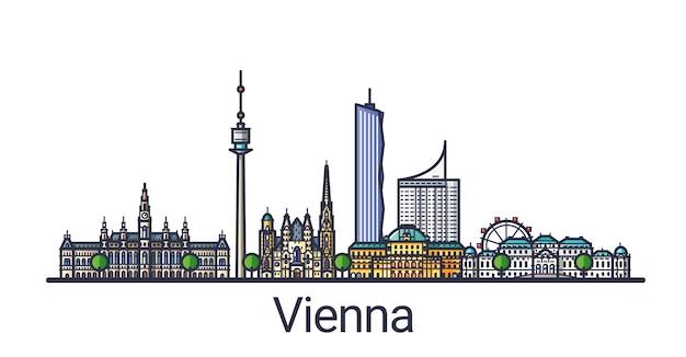 Баннер города вены в стиле плоской линии. штриховая графика города вены. все линейные здания разделены и настраиваются.