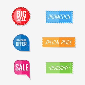 Banner offer flat elements label design