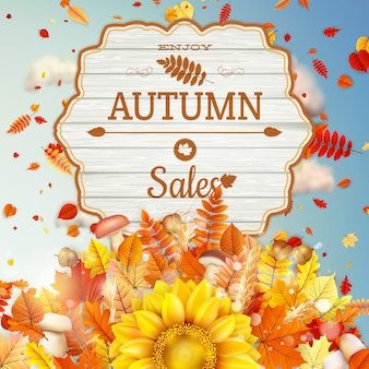 秋をテーマにしたバナー。セール