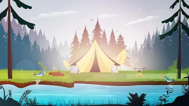 森でのキャンプをテーマにしたバナー