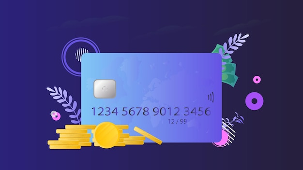 Баннер на тему финансов. кредитная карта, золотые монеты, доллары.