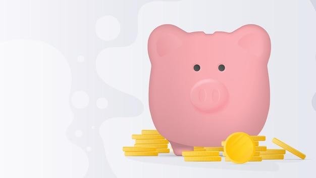 금융을 주제로 한 배너입니다. 금화와 돼지의 형태로 핑크 돼지 저금통. 동전의 산으로 돈을 위한 돼지 저금통. 벡터.