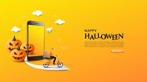 Banner of online shop with illustration of halloween