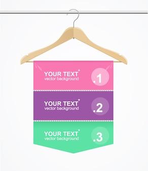 Banner option number hanger cloth for fashion store. vector illustration