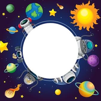 Uno striscione sullo sfondo della scena dello spazio esterno