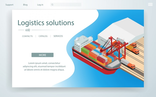 Banner page logistic solutions on cargo ship.