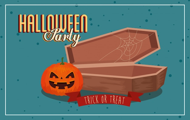 Banner of party halloween with pumpkin and coffin