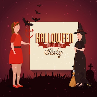 Banner of party halloween with women disguised