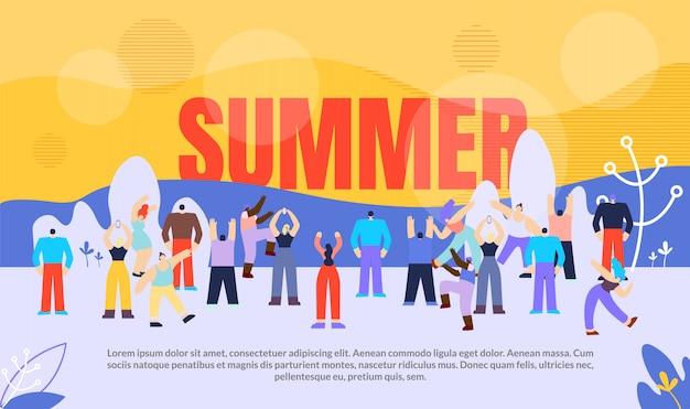 Banner people summer season vector illustration.