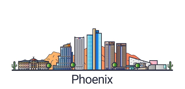 Banner of phoenix city in flat line trendy style. phoenix city line art. all buildings separated and customizable.