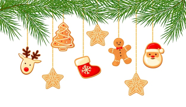 Banner of pine branches and gingerbread. cartoon style