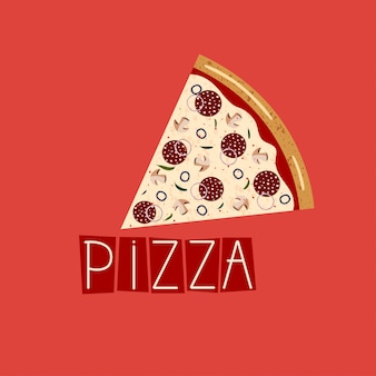 Banner for pizza box. background with slice pepperoni pizza.
