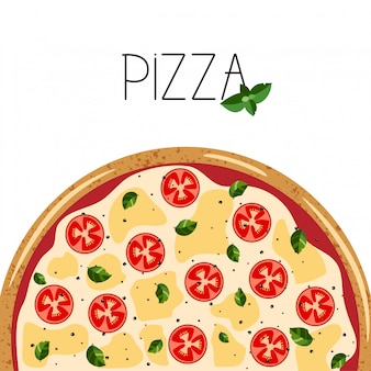Banner for pizza box. background with whole margarita pizza, basil.
