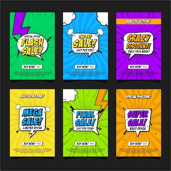 Banner pop art comic design collection