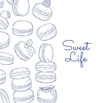 Banner and poster background with hand drawn macaroons and place for text illustration