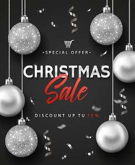 Banner or poster for christmas sale.