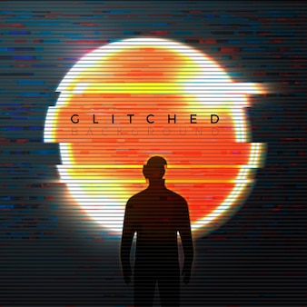 Banner, poster design template in glitched futurism style