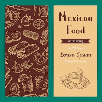 Banner poster and flyer or invitation template for restaurant cafe with sketched mexican food elements