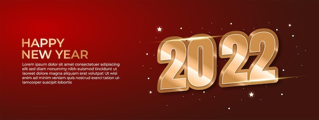 Banner or poster happy new years 2022 vector luxury text 2022 happy new year