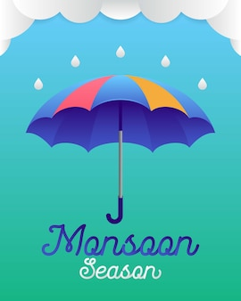 Banner or poster of monsoon season