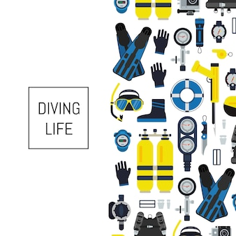 Banner and poster underwater diving equipment in flat style