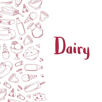 Banner poster with sketched dairy products  with place for text