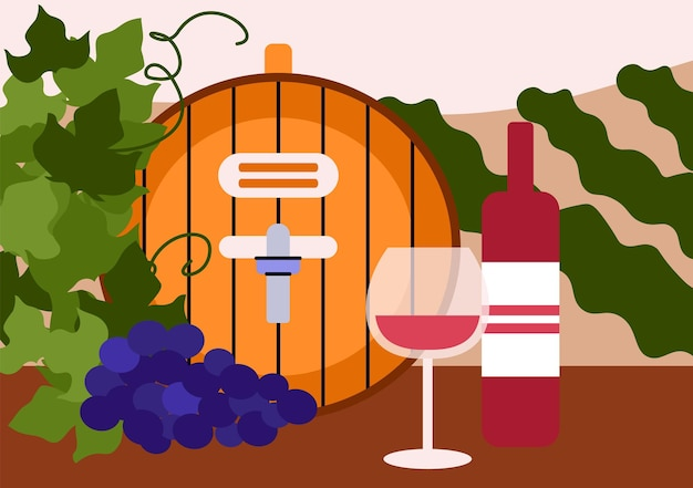 Banner or poster with wine barrel and bottle flat cartoon vector illustration