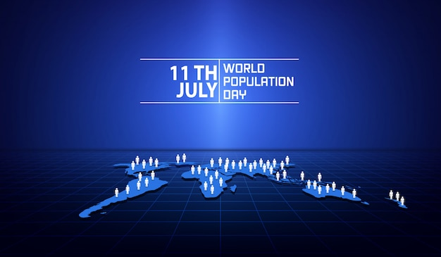 Banner or poster of world population day