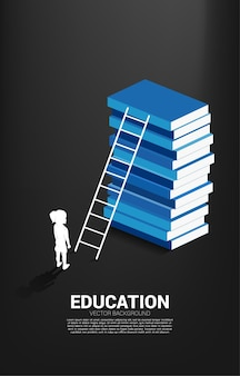 Banner for power of knowledge. silhouette of girl standing in front of book stack with ladder.