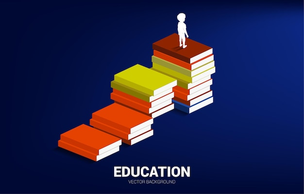 Banner for power of knowledge. silhouette of kid standing on stack of books.