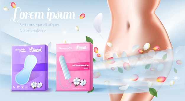 Banner for presentation cotton pads and tampon
