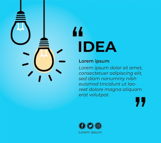 Banner for quote with bulb lamps