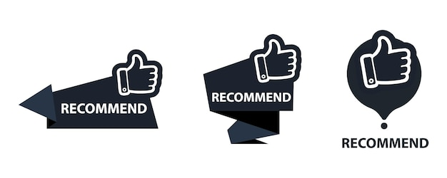 Banner recommended with thumbs up. recommend icon. best tag for great brend. banner thumb up on isolated background.