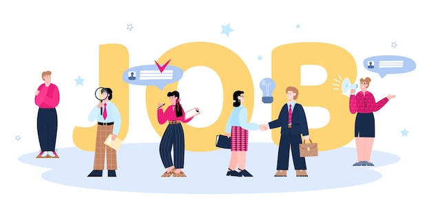 Banner for recruiting agency with big job word flat cartoon vector illustration