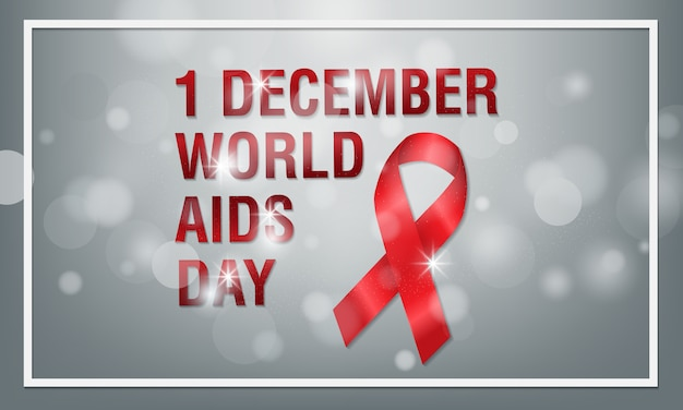 Banner red ribbon with symbol for world aids day, 1 december.