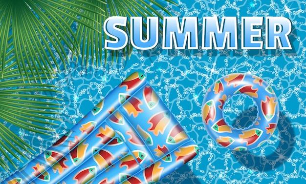 Баннерный отдых у бассейна. подушка и резиновый круг. летом.