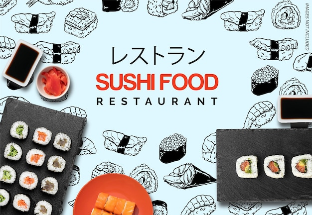Banner for restaurant with handrawn sushi doodles