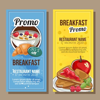 Баннер продажа темы завтрак в ручном стиле стиль