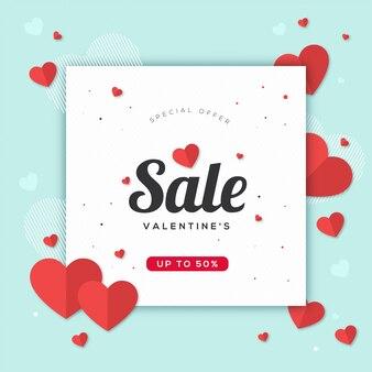Banner sale valentine's day background