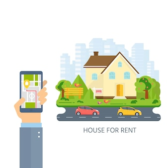 Banner for sales, hand holding phone with advertising house, cottage with trees. offer of home purchase. rental of real estate. vector flat design, urban landscape.