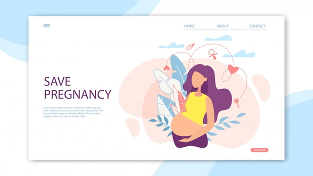 Banner save pregnancy with woman