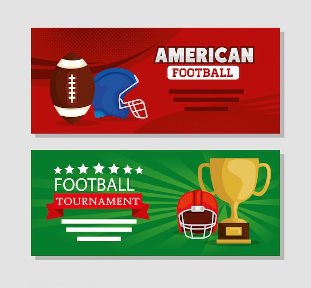 Banner set of american football with decoration