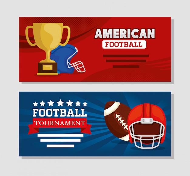 Banner set of american football