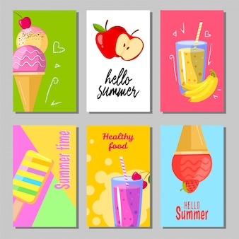 Banner set of cute sweet summer backgrounds. summer layout design greeting cards. ice cream, fruits and smoothie