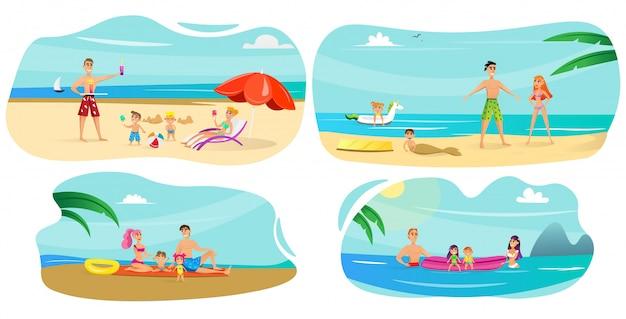Banner set family vacation at sea cartoon flat